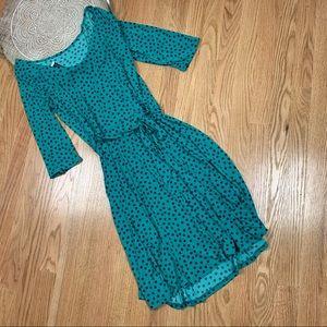 Leota Polka Dot Full Length Long Sleeve Dress 12